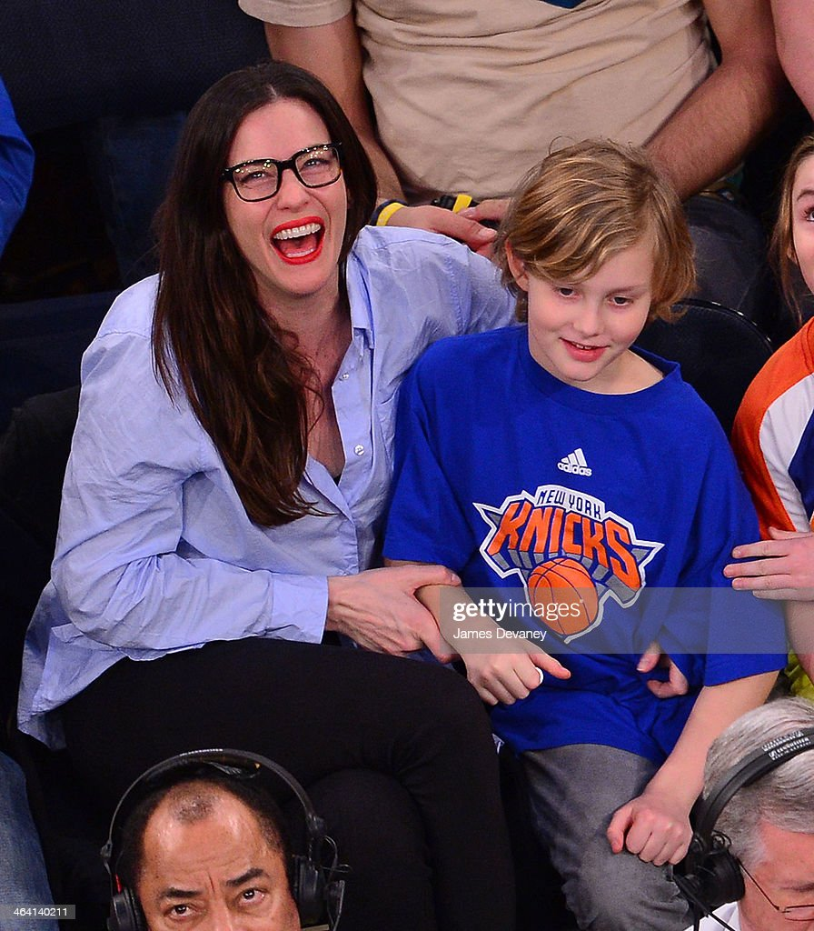 Liv Tyler and Milo Langdon attend the Brooklyn Nets vs New York Knicks game at Madison Square Garden on January 20, 2014 in New York City.