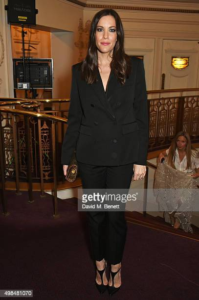 Liv Tyler attends a drinks reception at the British Fashion Awards in partnership with Swarovski at the London Coliseum on November 23 2015 in London...