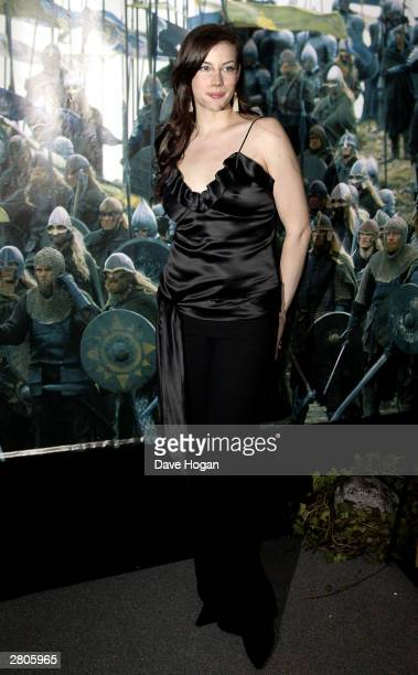 Liv Tyler attends the afterparty for the UK premiere of 'Lord of the Rings The Return of the King' at Old Billingsgate Market on December 11 2003 in...