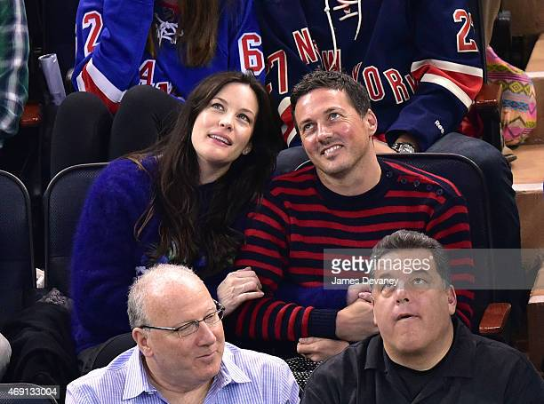 Liv Tyler Dave Gardner and Steve Schirripa attend Ottawa Senators vs New York Rangers game at Madison Square Garden on April 9 2015 in New York City