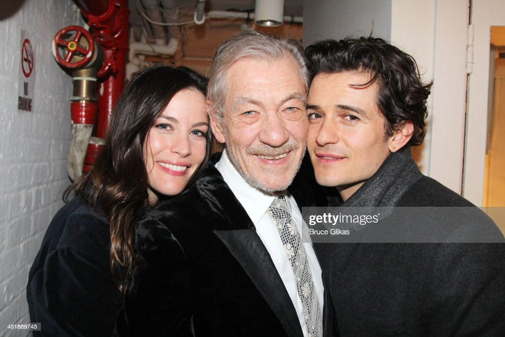 Liv Tyler, Ian McKellen and Orlando Bloom (co-stars in 'Lord of The Ring' and 'The Hobbit') pose at the 'No Man's Land' & 'Waiting For Godot' Opening Night after party at the Bryant Park Grill on November 24, 2013 in New York City.