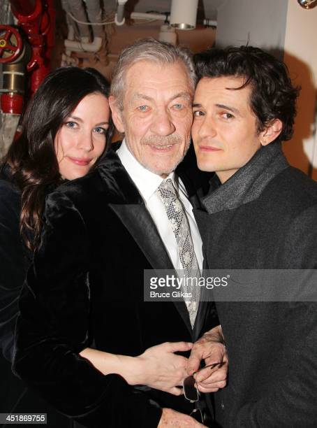 Liv Tyler Ian McKellen and Orlando Bloom pose at the 'No Man's Land' 'Waiting For Godot' Opening Night after party at the Bryant Park Grill on...
