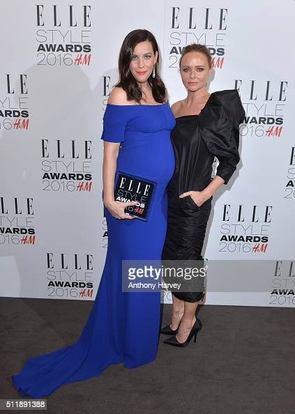Liv Tyler poses with her award for TV Actress of The Year with Stella McCartney in the winners room at The Elle Style Awards 2016 on February 23 2016...