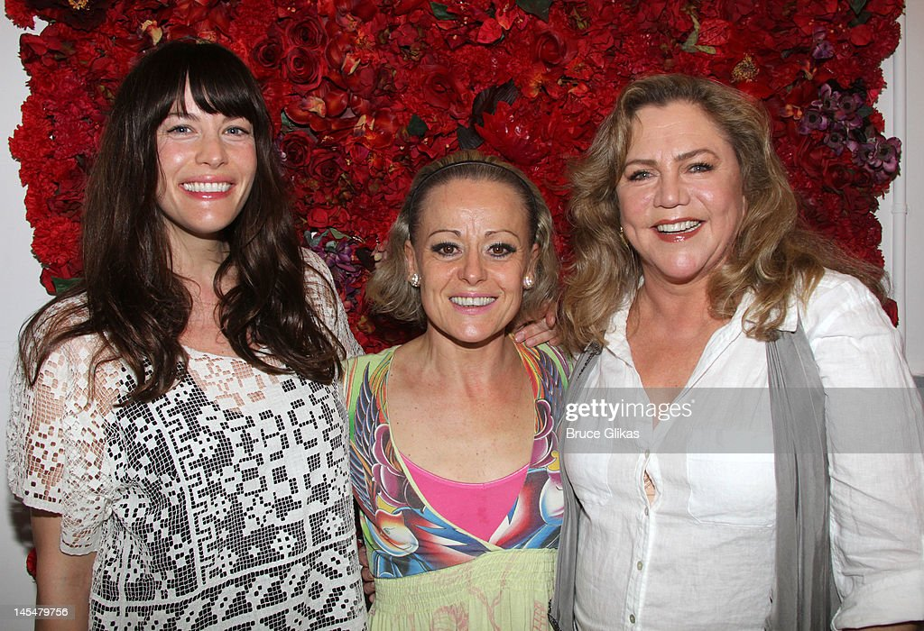 Liv Tyler, Tracie Bennett and Kathleen Turner pose backstage at the hit play 'End of The Rainbow' on Broadway at The Belasco Theater on May 30, 2012 in New York City.