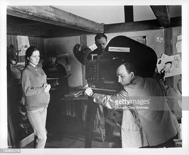 Liv Ullman and Ingmar Bergman in between scenes from the film 'Hour Of The Wolf' 1968