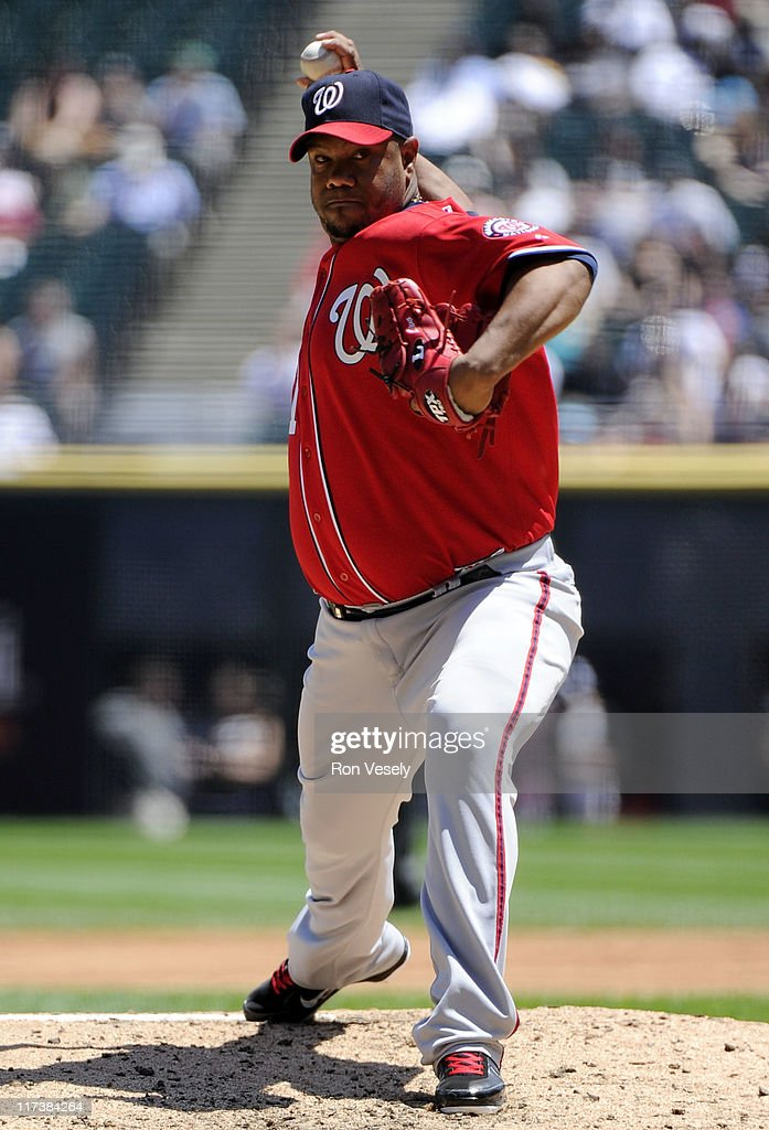 Livan Hernandez #61 of the Washington Nationals pitches against the Chicago White Sox on June 26, 2011 at U.S. Cellular Field in Chicago, Illinois. The Nationals defeated the White Sox 2-1.