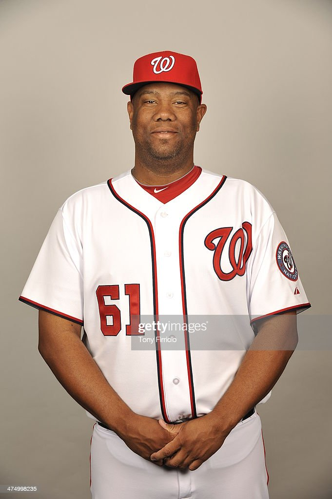 Livan Hernandez #61 of the Washington Nationals poses during Photo Day on February 23, 2014 at Space Coast Stadium in Viera, Florida.