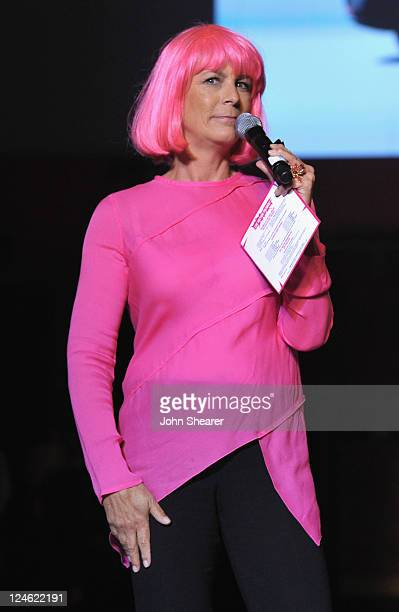 Live auction host Jamie Lee Curtis speaks onstage at Elyse Walker Presents Pink Party '11 Hosted By Jennifer Garner To Benefit CedarsSinai Women's...