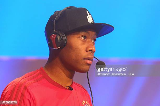 Live commentator David Alaba of FC Bayern Muenchen attends the finale for FIFA Interactive World Cup 2015 at Volkstheater on May 19 2015 in Munich...