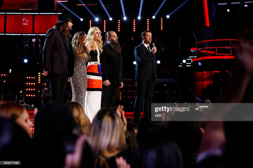 THE VOICE -- 'Live Finale' Episode: 1018B -- Pictured: (l-r) Adam Wakefield, <a gi-track='captionPersonalityLinkClicked' href=/galleries/search?phrase=Alisan+Porter&family=editorial&specificpeople=668247 ng-click='$event.stopPropagation()'>Alisan Porter</a>, Hannah Huston, Laith Al-Saadi, <a gi-track='captionPersonalityLinkClicked' href=/galleries/search?phrase=Carson+Daly&family=editorial&specificpeople=202941 ng-click='$event.stopPropagation()'>Carson Daly</a> --