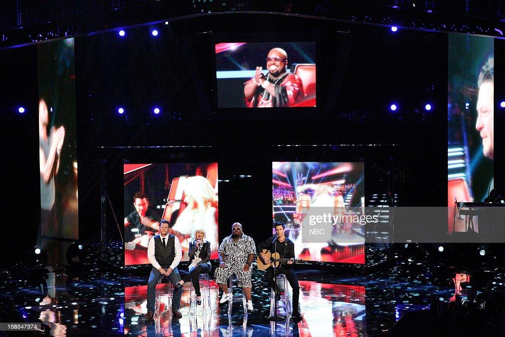 THE VOICE -- 'Live Finale' Episode 323B -- Pictured: (l-r) Blake Shelton, Christina Aguilera, CeeLo Green, Adam Levine --