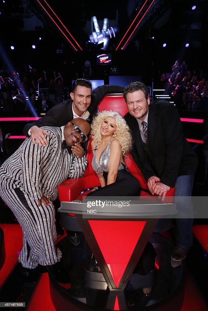 THE VOICE -- 'Live Finale' Episode 519B -- Pictured: (l-r) CeeLo Green, Adam Levine, Christina Aguilera, Blake Shelton --