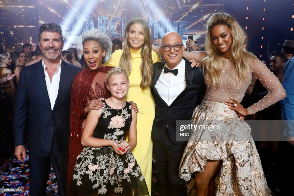 S GOT TALENT -- 'Live Finale Results' Episode 1224 -- Pictured: (l-r) Simon Cowell, Mel B, Darci Lynne, Heidi Klum, Howie Mandell, Tyra Banks --