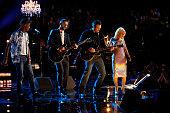 THE VOICE 'Live Finals' Episode 818B Pictured Pharrell Williams Adam Levine Christina Aguilera Blake Shelton