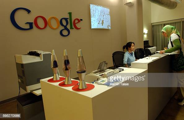 Live Google Earth is projected behind the reception desk inside Google's new New York offices The new offices are located in Manhattan's trendy meat...