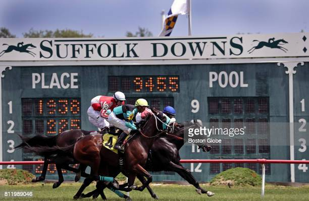 Live horse racing takes place at Suffolk Downs in East Boston on Jul 8 2017 It was one of six days on which the track will host racing this year The...
