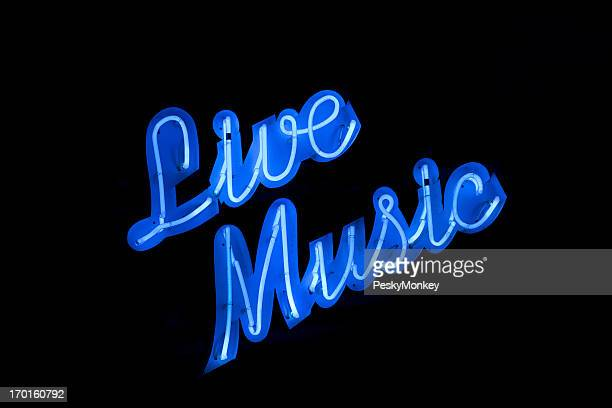 Live Music Neon Sign Black Background