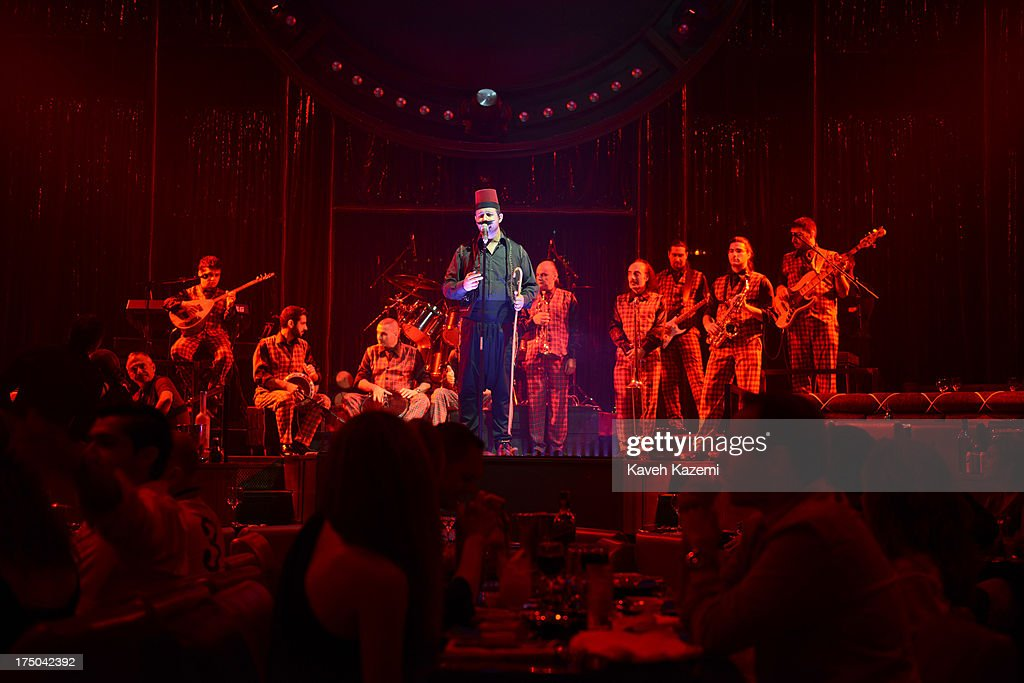 Live music performance at Al Mandaloun night club on July 19, 2013 in Beirut, Lebanon. Despite the rising tensions between different Muslim factions in the country people enjoy their leisure time and continue their daily life as normal.