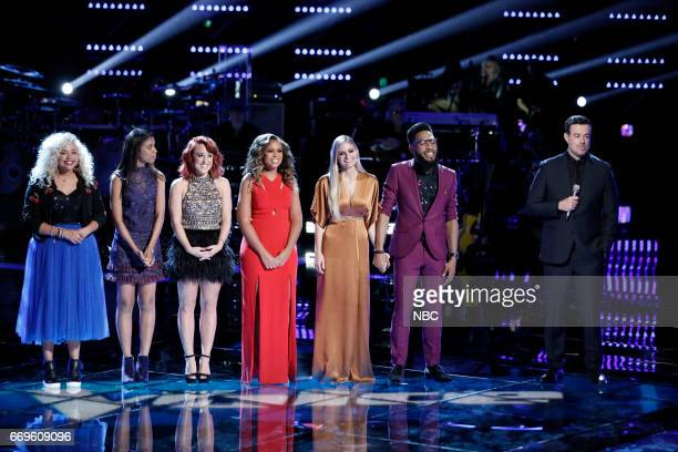 THE VOICE 'Live Playoffs' Episode 1214A Pictured Aaliyah Rose Aliyah Moulden Casi Joy Felicia Temple Lauren Duski TSoul Carson Daly
