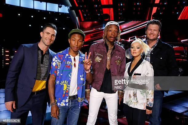 THE VOICE 'Live Playoffs' Episode 812C Pictured Adam Levine Pharrell Williams Wiz Khalifa Christina Aguilera Blake Shelton