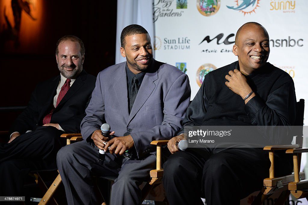 AEG Live Scott Gartner, Melton Mustafa Jr. and Miami Gardens Mayor Oliver G. Gilbert III attends Jazz In The Gardens press conference on March 14, 2014 in Hollywood, Florida.