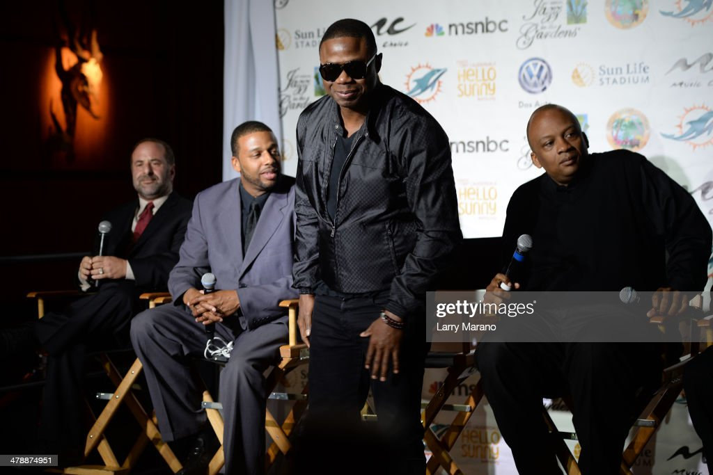 AEG Live Scott Gartner, Melton Mustafa Jr., Doug E. Fres and Miami Gardens Mayor Oliver G. Gilbert III attends Jazz In The Gardens press conference on March 14, 2014 in Hollywood, Florida.
