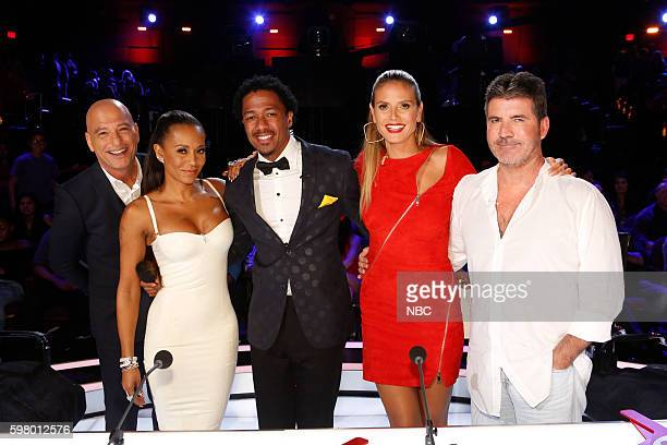 S GOT TALENT 'Live SemiFinals 1' Episode 1118 Pictured Howie Mandel Mel B Nick Cannon Heidi Klum Simon Cowell