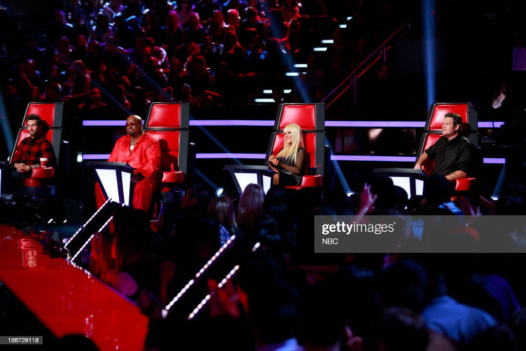 THE VOICE -- 'Live Show' Episode 319A -- Pictured: (l-r) Adam Levine, CeeLo Green, Christina Aguilera, Blake Shelton --