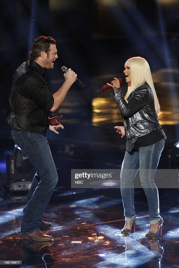 THE VOICE -- 'Live Show' Episode 319A -- Pictured: (l-r) Blake Shelton, Christina Aguilera --