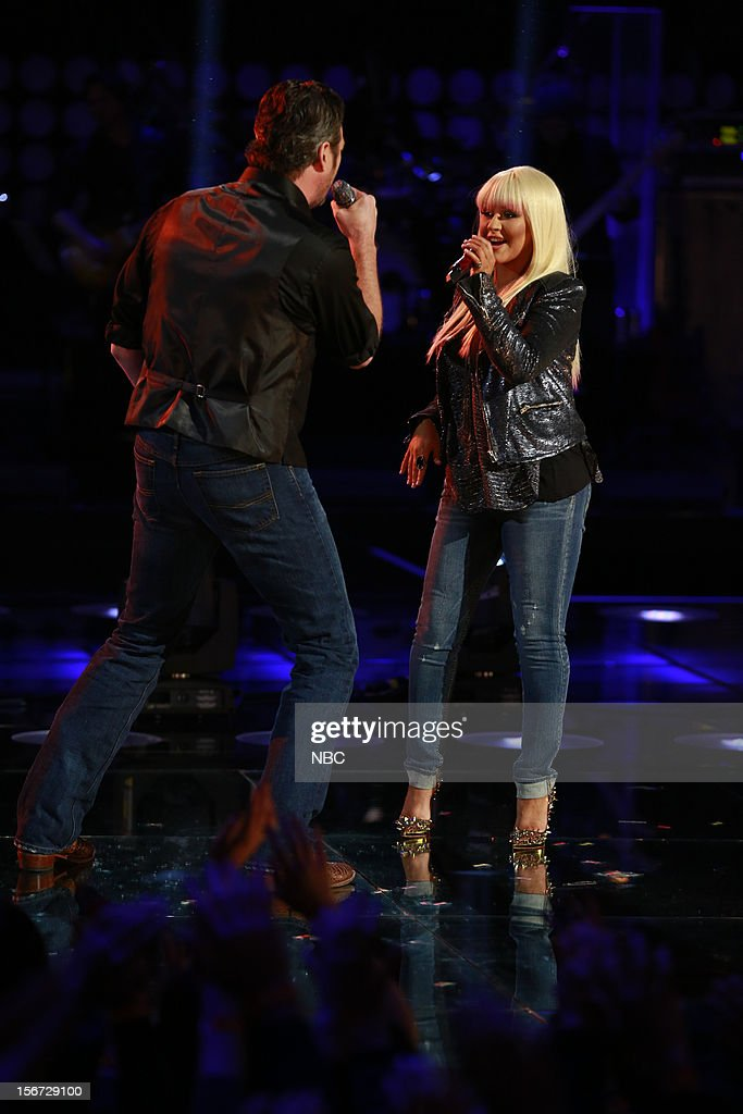 THE VOICE -- 'Live Show' Episode 319A -- Pictured: (l-r) Blake Shelton, Christina Aguilera --