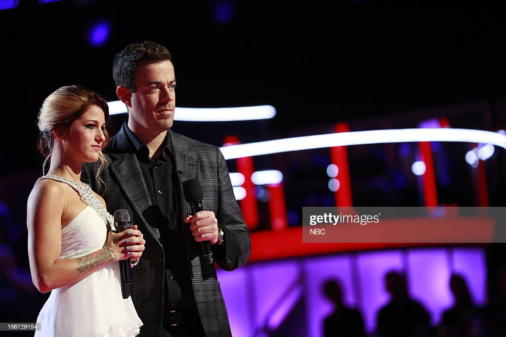 THE VOICE -- 'Live Show' Episode 319A -- Pictured: (l-r) Cassadee Pope, Carson Daly --