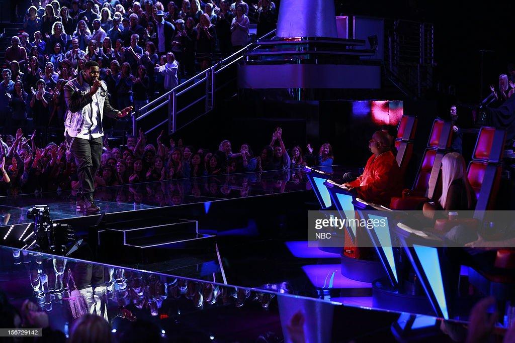 THE VOICE -- 'Live Show' Episode 319A -- Pictured: (l-r) Trevin Hunte, CeeLo Green, Christina Aguilera --