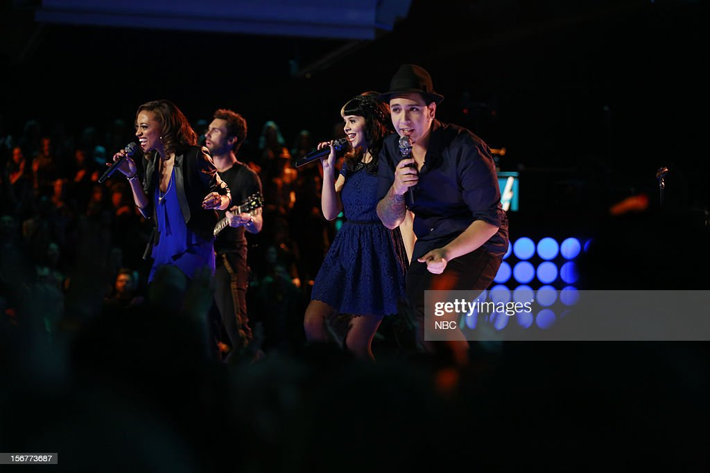 THE VOICE -- 'Live Show' Episode 319B -- Pictured: (l-r) Amanda Brown, <a gi-track='captionPersonalityLinkClicked' href=/galleries/search?phrase=Adam+Levine+-+Singer&family=editorial&specificpeople=202962 ng-click='$event.stopPropagation()'>Adam Levine</a>, Melanie Martinez, Bryan Keith --