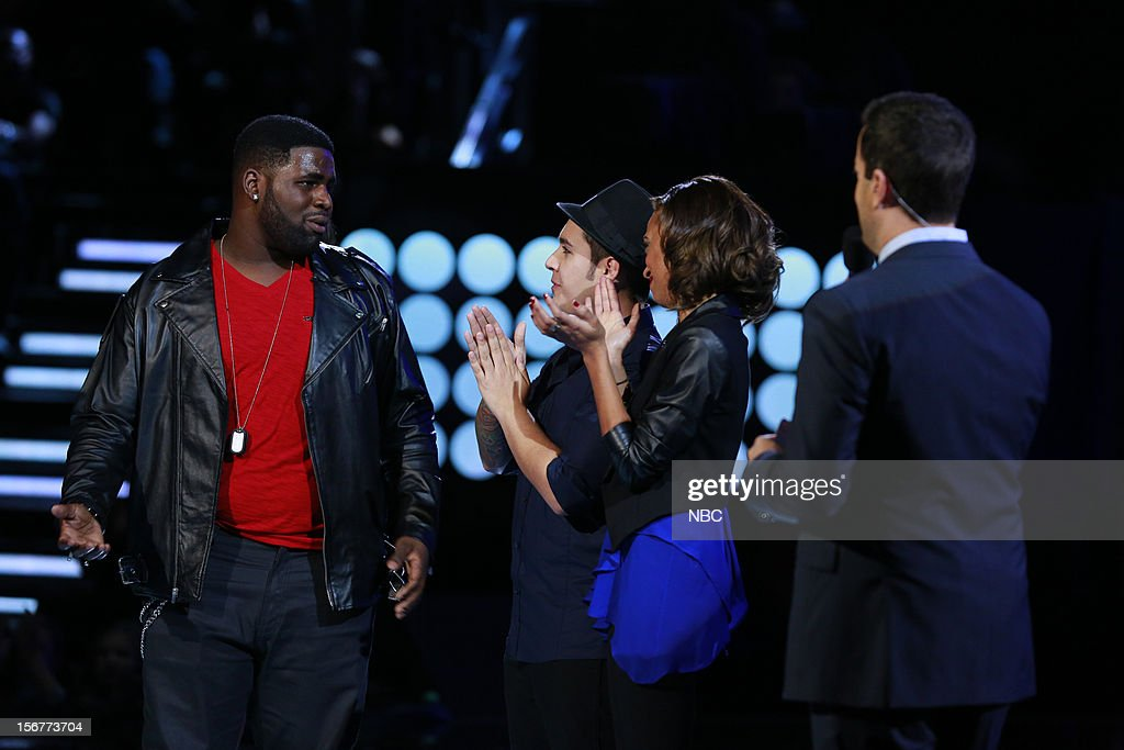 THE VOICE -- 'Live Show' Episode 319B -- Pictured: (l-r) Trevin Hunte, Bryan Keith, Amanda Brown, Carson Daly --