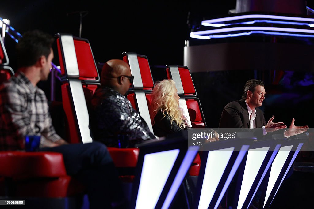 THE VOICE -- 'Live Show' Episode 320A -- Pictured: (l-r) Adam Levine, Cee Lo Green, Christina Aguilera, Blake Shelton --