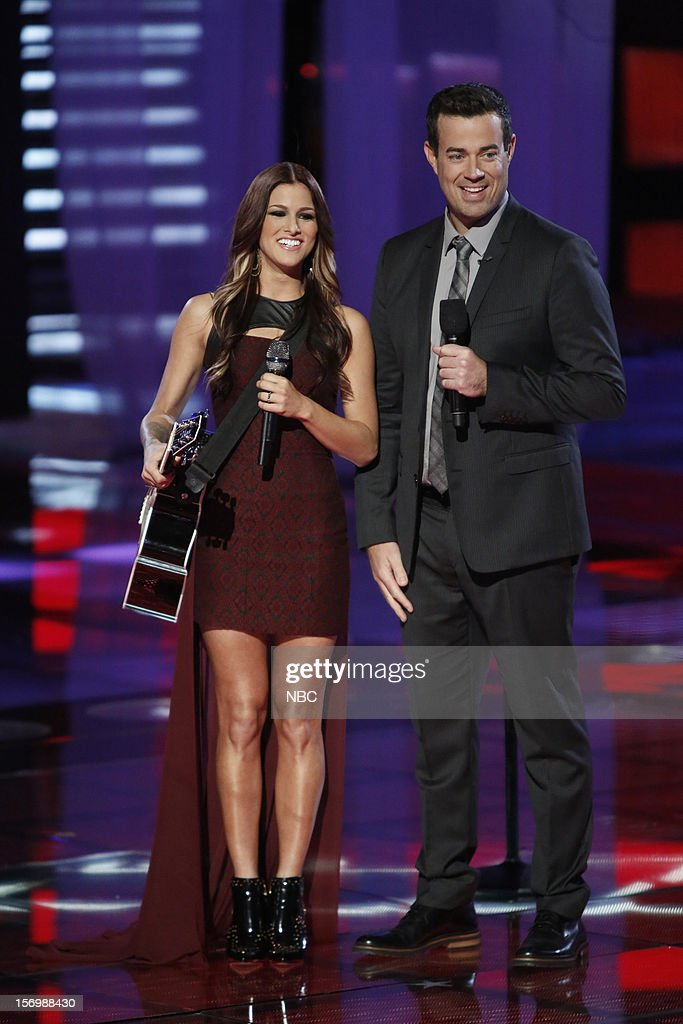 THE VOICE -- 'Live Show' Episode 320A -- Pictured: (l-r) Cassadee Pope, Carson Daly --