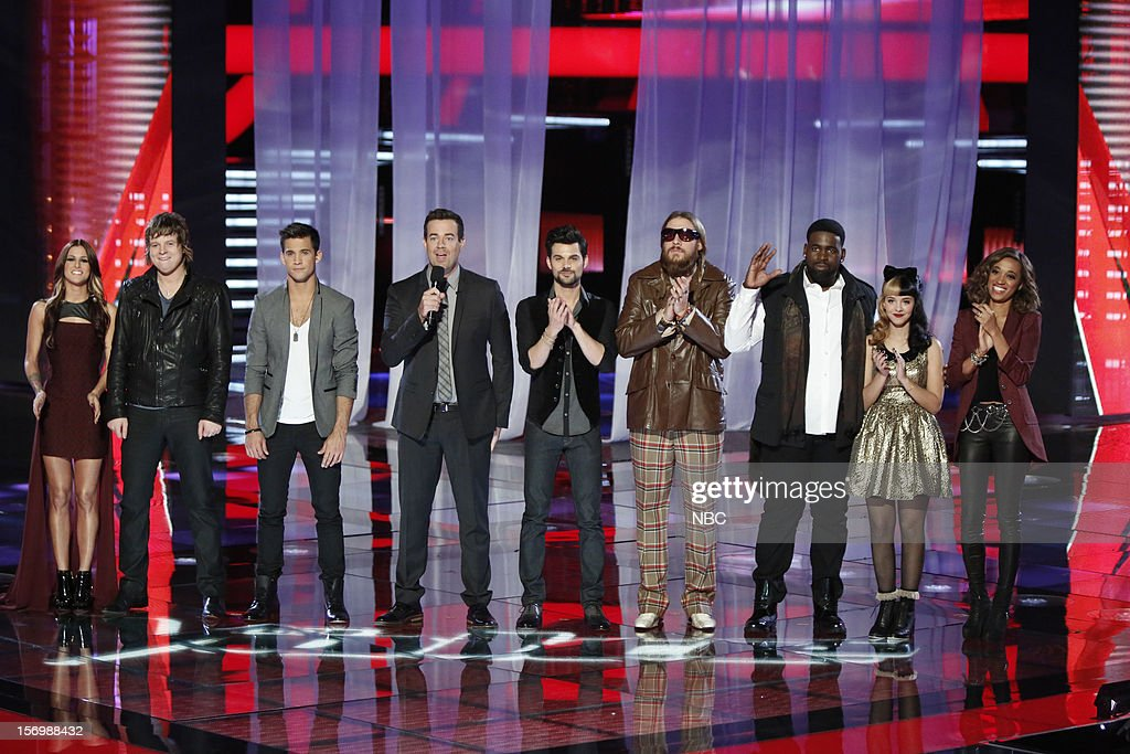THE VOICE -- 'Live Show' Episode 320A -- Pictured: (l-r) Cassadee Pope, Terry McDermott, Dez Duron, Carson Daly, Cody Belew, Nicholas David, Trevin Hunte, Melanie Martinez, Amanda Brown --