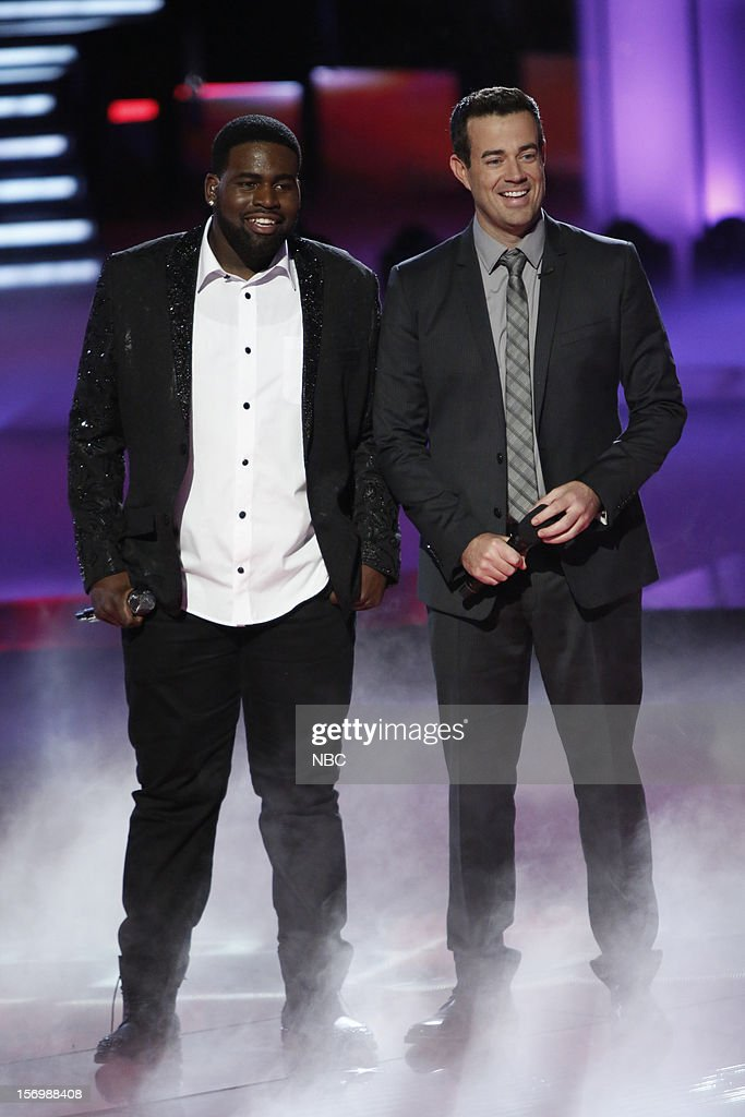 THE VOICE -- 'Live Show' Episode 320A -- Pictured: (l-r) Trevin Hunte, Carson Daly --