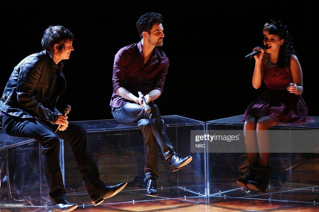 THE VOICE -- 'Live Show' Episode 320B -- Pictured: (l-r) Tyler McDermott, Cody Belew, Melanie Martinez --