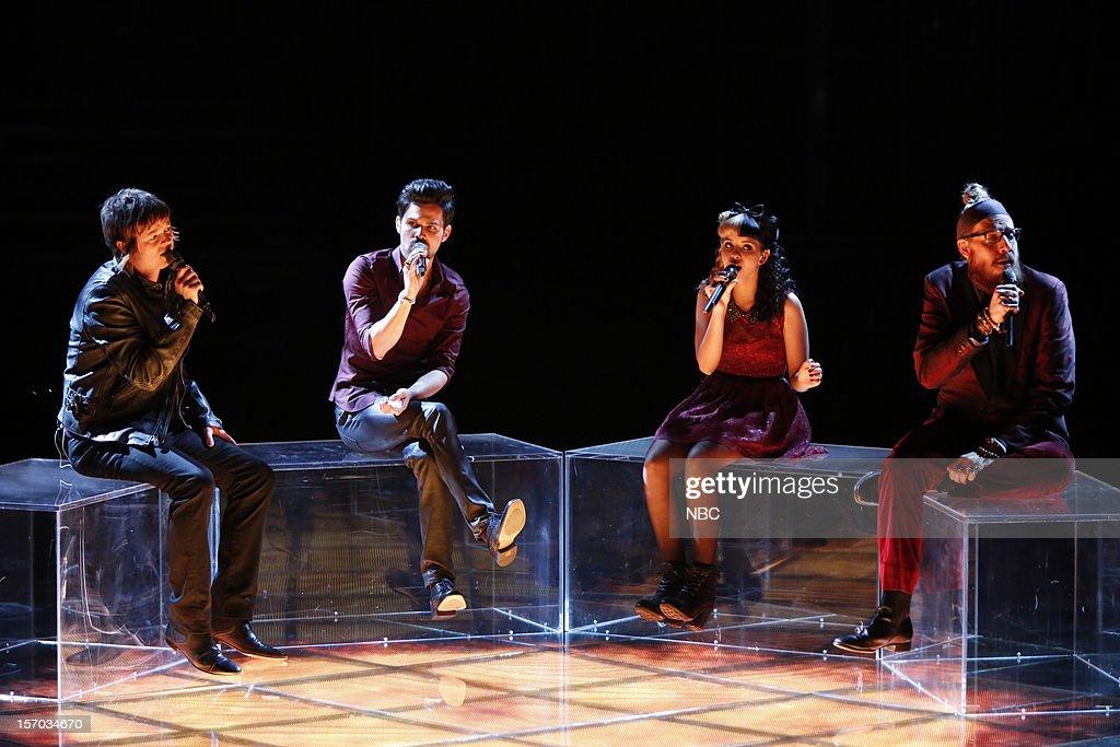 THE VOICE -- 'Live Show' Episode 320B -- Pictured: (l-r) Tyler McDermott, Cody Belew, Melanie Martinez, Nicholas David --