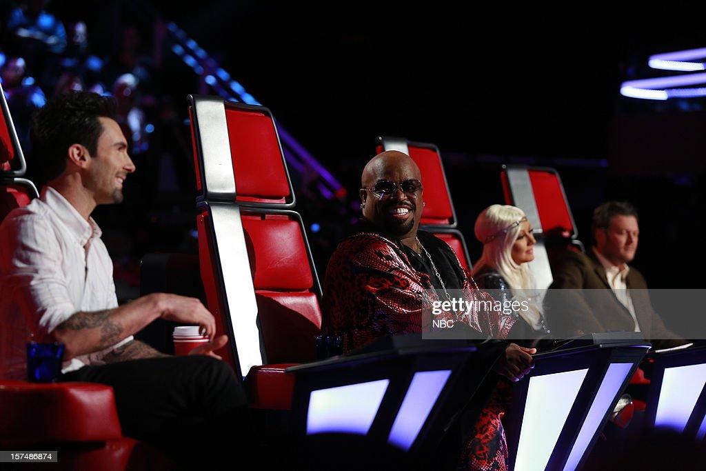 THE VOICE -- 'Live Show' Episode 321A -- Pictured: (l-r) Adam Levine, Cee Lo Green, Christina Aguilera, Blake Griffin --
