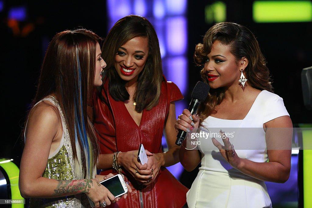 THE VOICE -- 'Live Show' Episode 321A -- Pictured: (l-r) Cassadee Pope, Amanda Brown, Christina Milian --