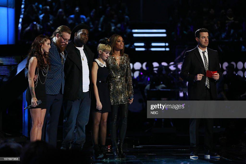 THE VOICE -- 'Live Show' Episode 321B -- Pictured: (l-r) Cassadee Pope, Nicholas David, Trevin Hunte, Melanie Martinez, Amanda Brown, Carson Daly --