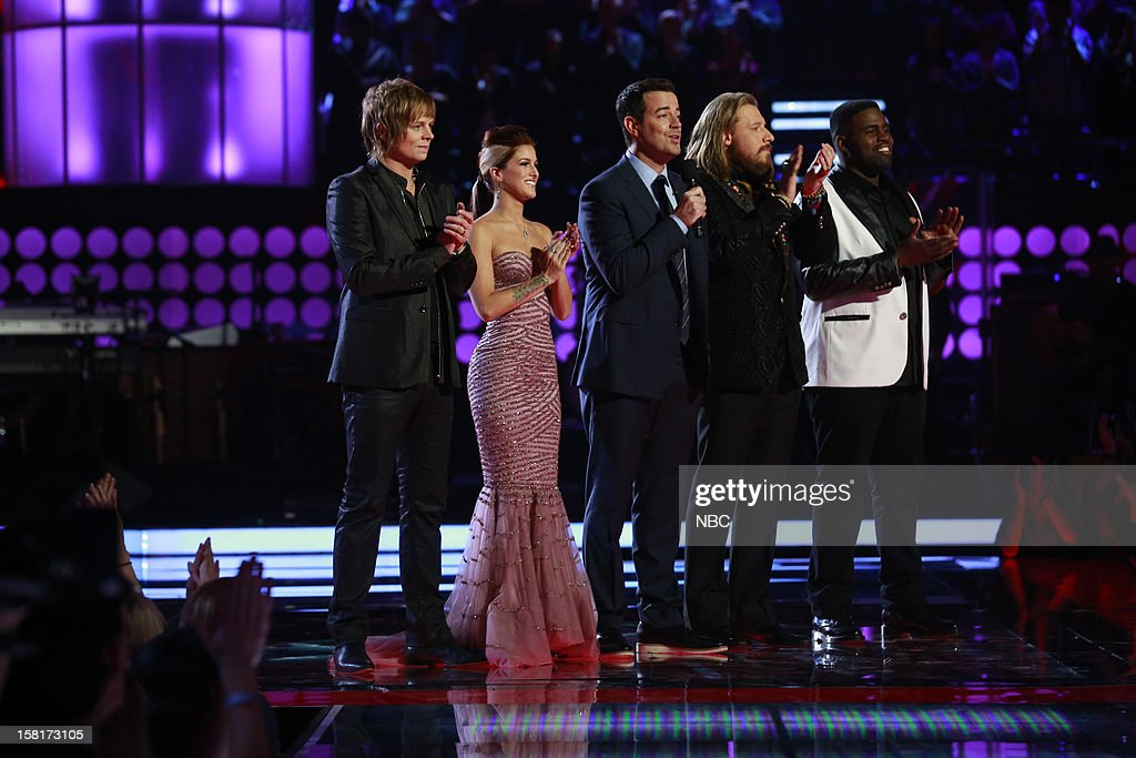THE VOICE -- 'Live Show' Episode 322A -- Pictured: (l-r) Terry McDermott, Cassadee Pope, Carson Daly, Nicholas David, Trevin Hunte --