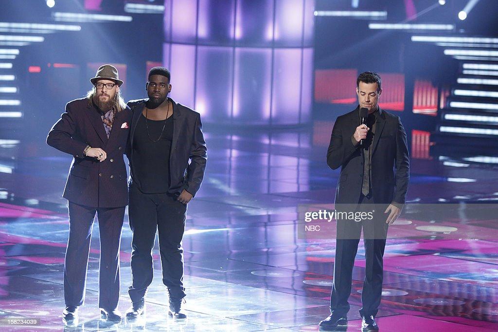 THE VOICE -- 'Live Show' Episode 322B -- Pictured: (l-r) Nicholas David, Trevin Hunte, Carson Daly --