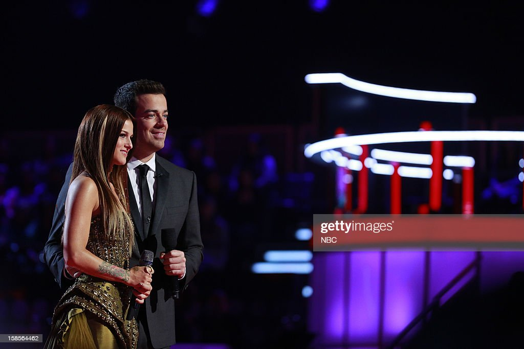 THE VOICE -- 'Live Show' Episode 323A -- Pictured: (l-r) Cassadee Pope, Carson Daly --