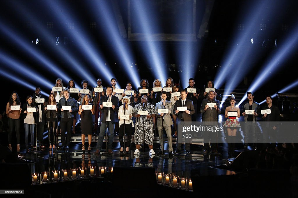 THE VOICE -- 'Live Show' Episode 323A -- Pictured: (l-r) Christina Milian, Blake Shelton, Christina Aguilera, CeeLo Green, Adam Levine, Carson Daly and the top 21 contestants from Season 3 --