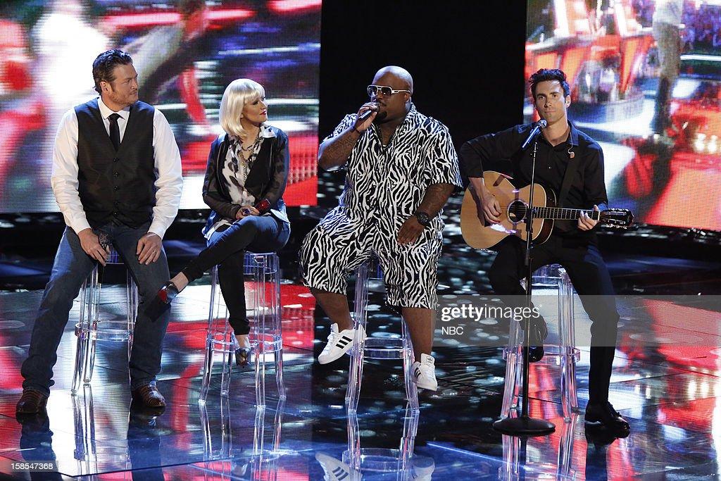 THE VOICE -- 'Live Show' Episode 323B -- Pictured: (l-r) Blake Shelton, Christina Aguilera, CeeLo Green, Adam Levine --