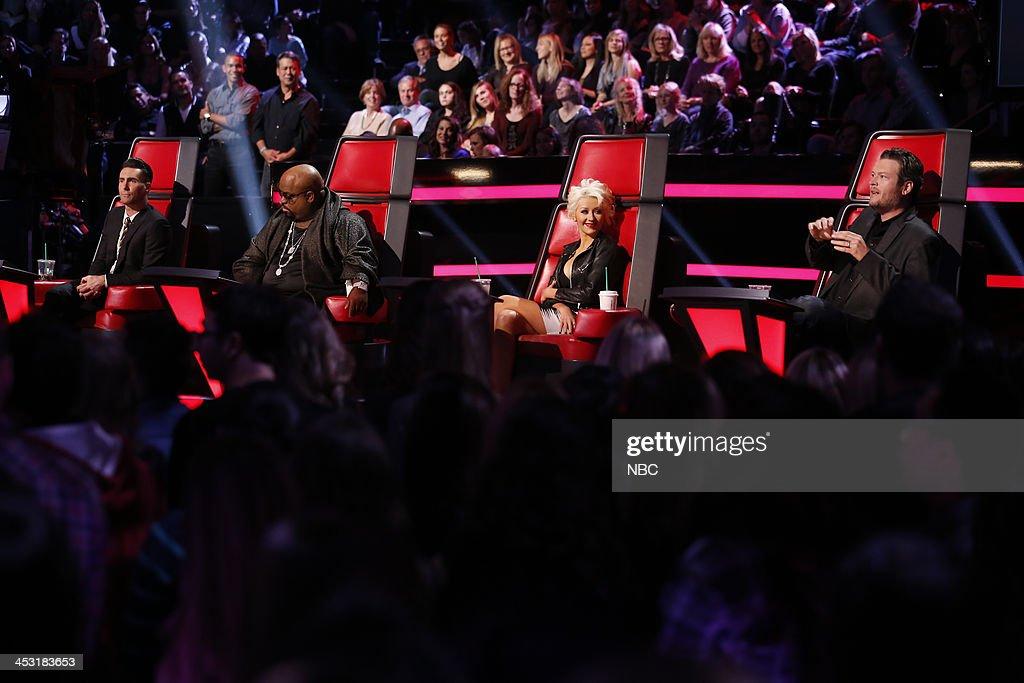 THE VOICE -- 'Live Show' Episode 517A -- Pictured: (l-r) Adam Levine, CeeLo Green, Christina Aguilera, Blake Shelton --