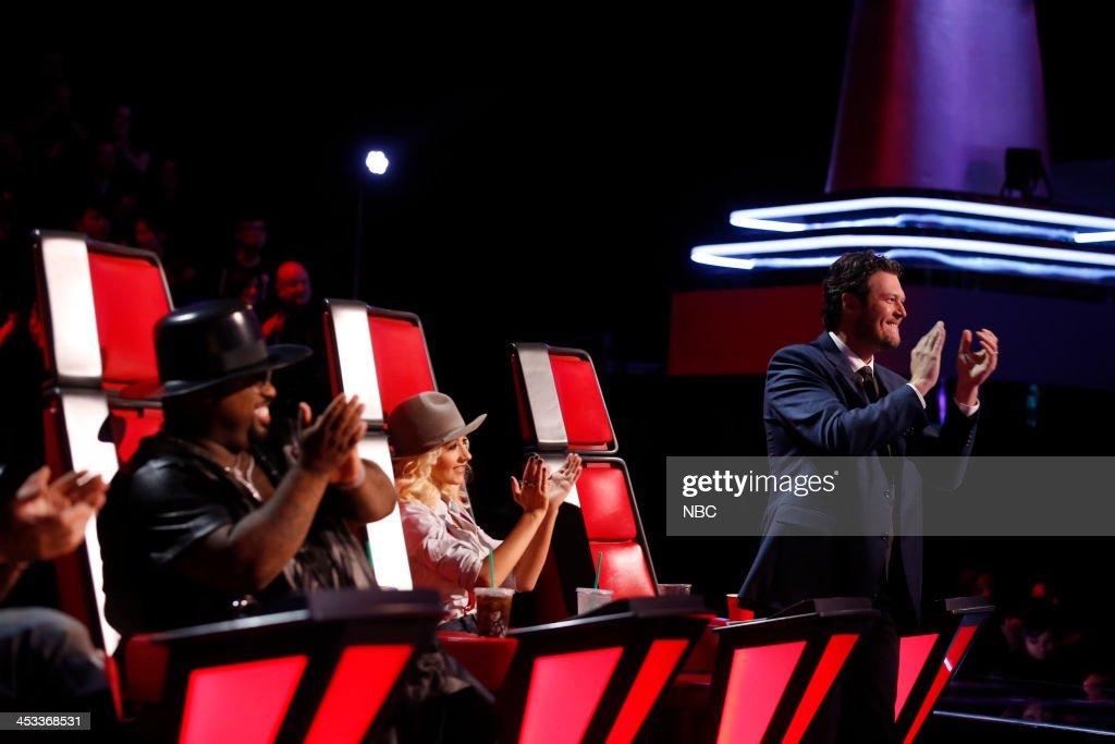 THE VOICE -- 'Live Show' Episode 517B -- Pictured: (l-r) CeeLo Green, Christina Aguilera, Blake Shelton --